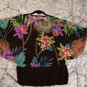 Jennifer Lopez banded bottom floral bat-wing shirt